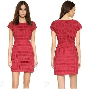 Madewell Red Eyelet Happening Cutout Dress 00